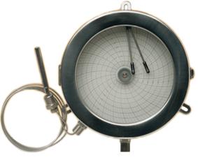Registadores circulares de temperatura e pressao