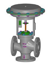 Valvulas de controlo pneumaticas de 3 vias misturadoras flangeadas 2600 AD_AR