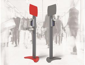 Estação / coluna de desinfecção móvel, em alumínio, com dispensador de desinfetante e painel metálico para ímanes